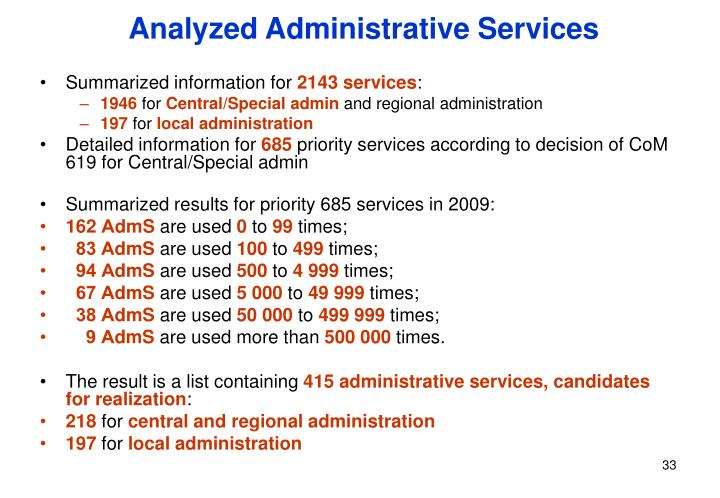 Analyzed Administrative Services