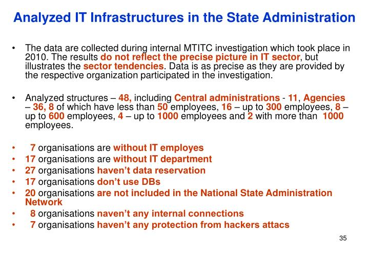 Analyzed IT Infrastructures in the State Administration