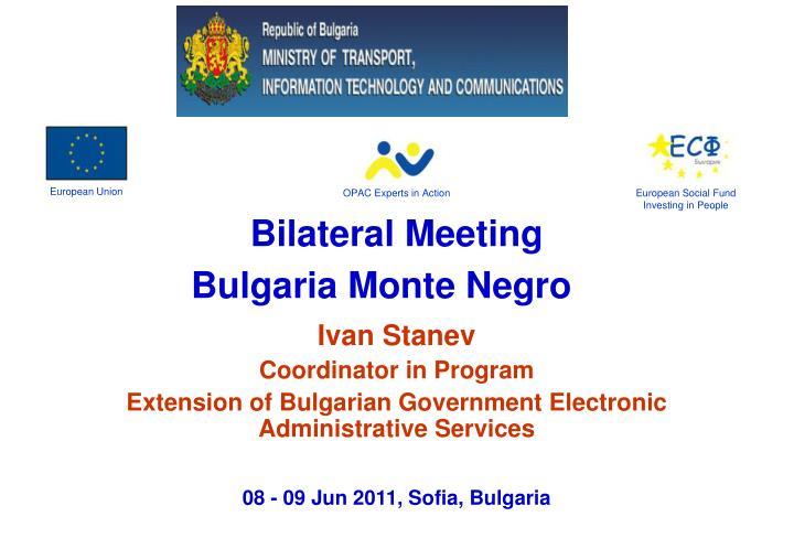 Bilateral meeting bulgaria monte negro