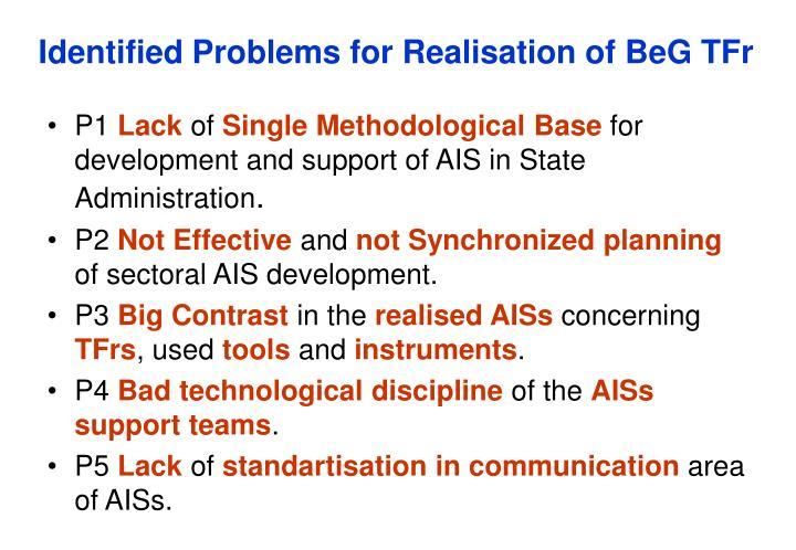 Identified Problems for Realisation of BeG TFr