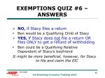 exemptions quiz 6 answers