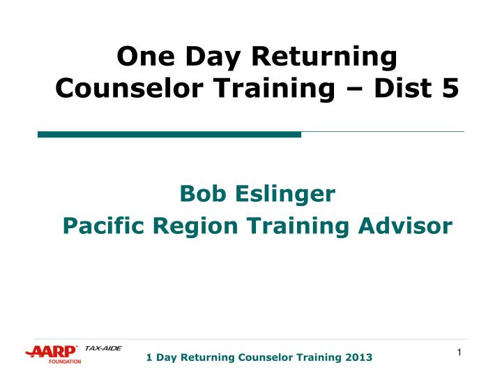 one day returning counselor training dist 5