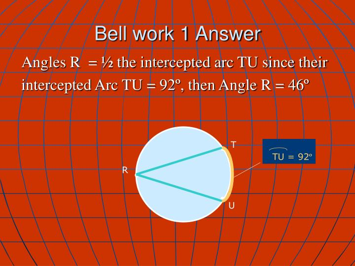 Bell work 1 answer