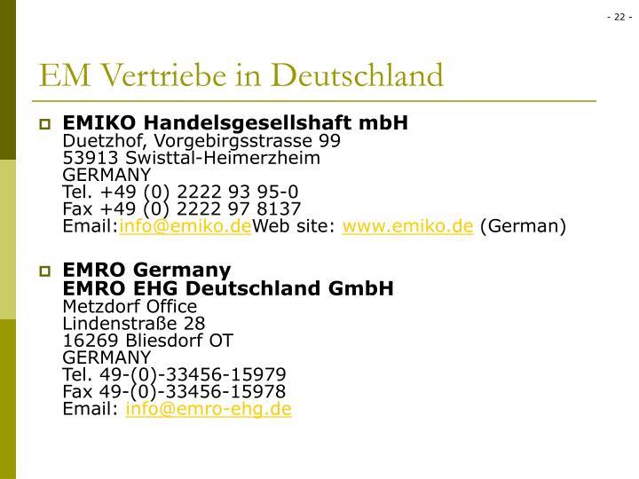 EM Vertriebe in Deutschland
