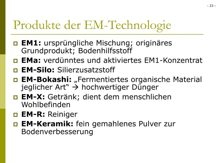 Produkte der EM-Technologie