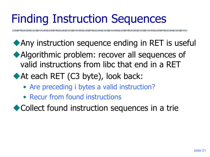 Finding Instruction Sequences