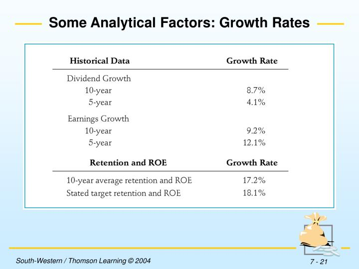 Some Analytical Factors: Growth Rates