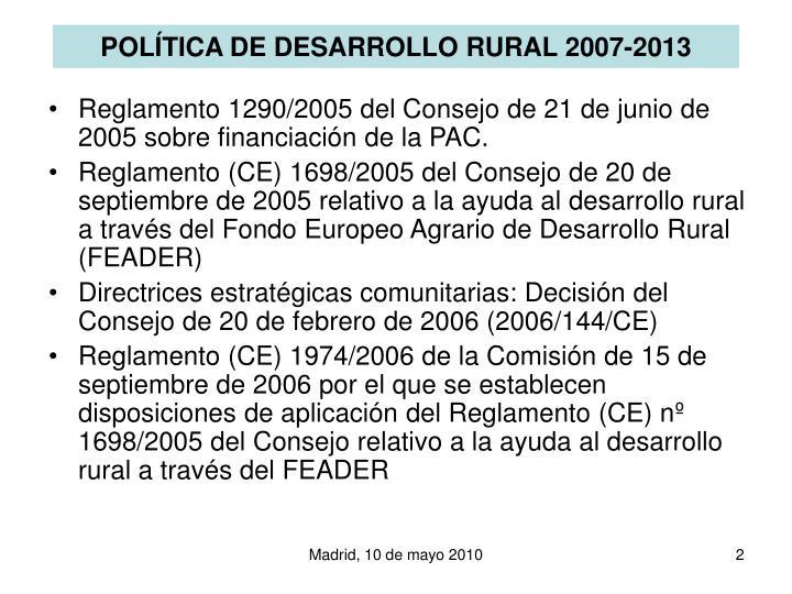 Pol tica de desarrollo rural 2007 2013