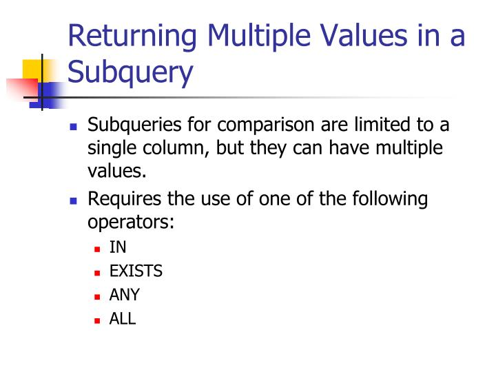 Returning Multiple Values in a Subquery