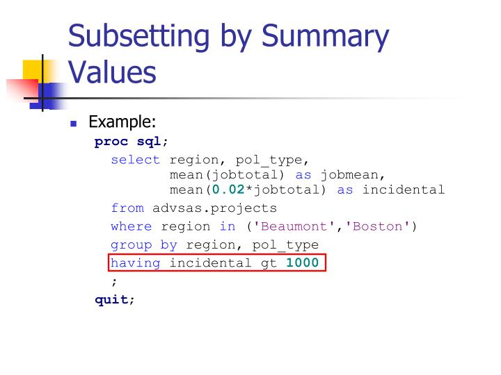 Subsetting by Summary Values