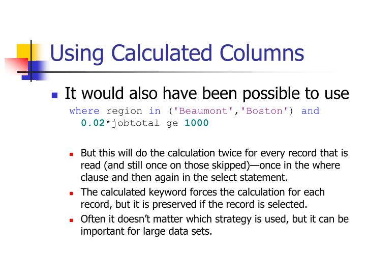Using Calculated Columns