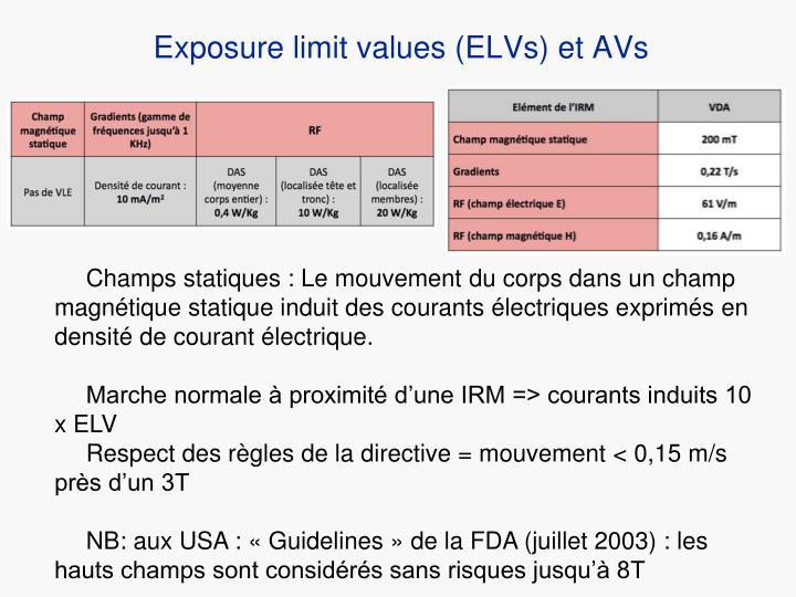 Exposure limit values (ELVs) et AVs