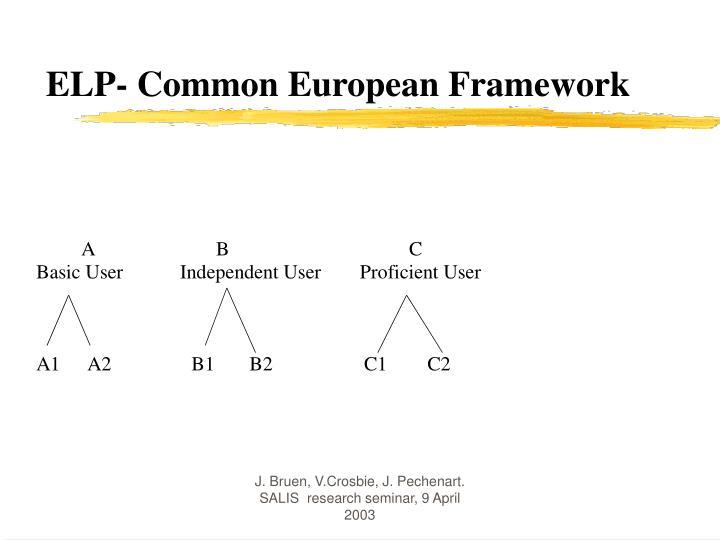 ELP- Common European Framework