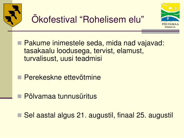 """Ökofestival """"Rohelisem elu"""""""