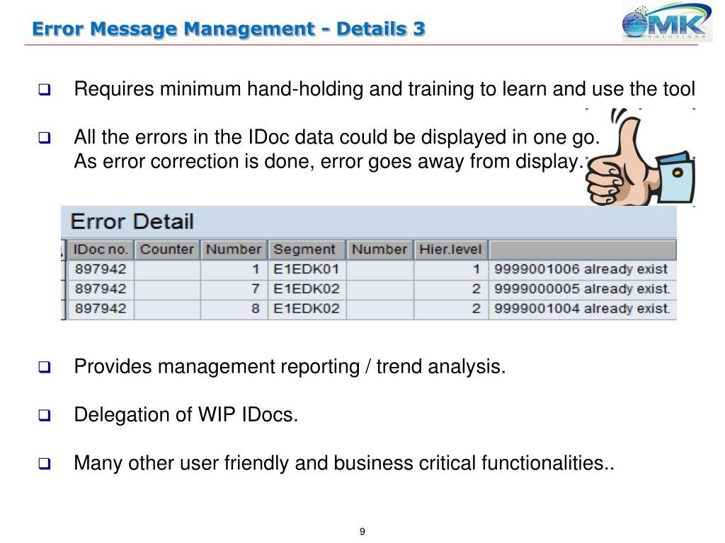 PPT - EMM – SAP Error Messages Management Tool PowerPoint