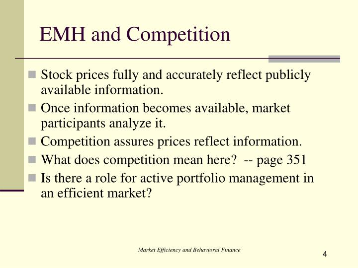 efficient market hypothesis vs behavioural finance Efficient market hypothesis v's behavioural finance an efficient market is one in which share prices quickly and fully reflect all available information, where.