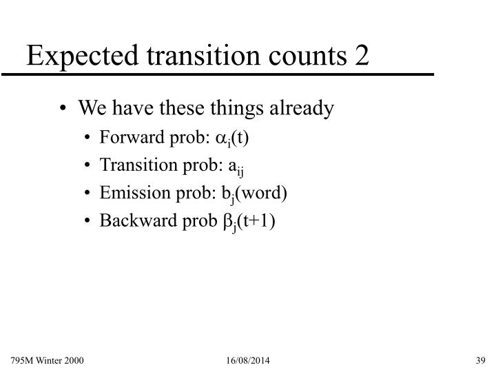 Expected transition counts 2