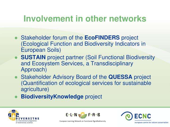 Involvement in other networks