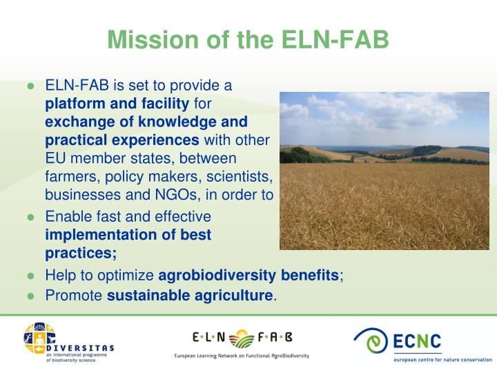 Mission of the ELN-FAB