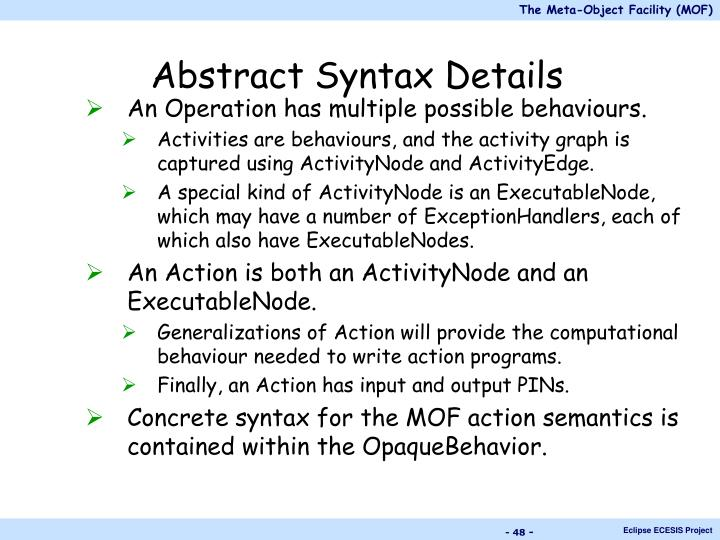 Abstract Syntax Details