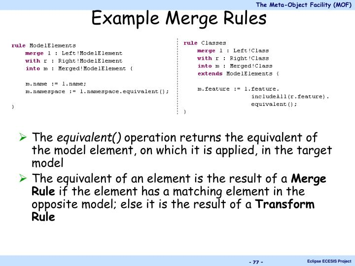 Example Merge Rules