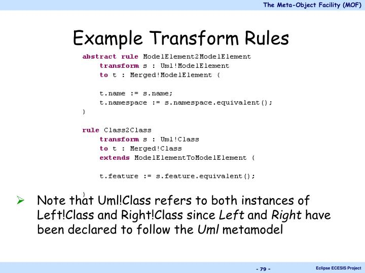 Example Transform Rules