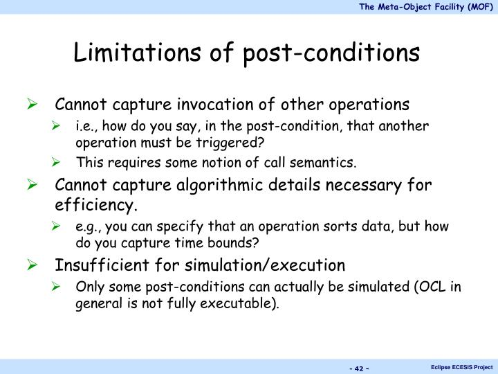 Limitations of post-conditions