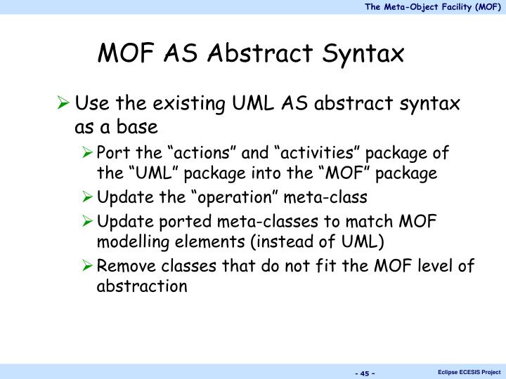MOF AS Abstract Syntax