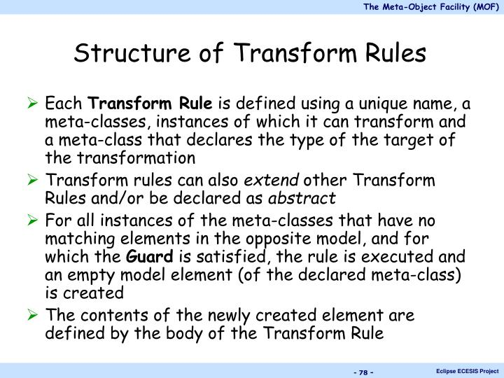 Structure of Transform Rules