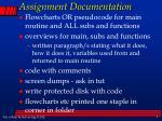 assignment documentation