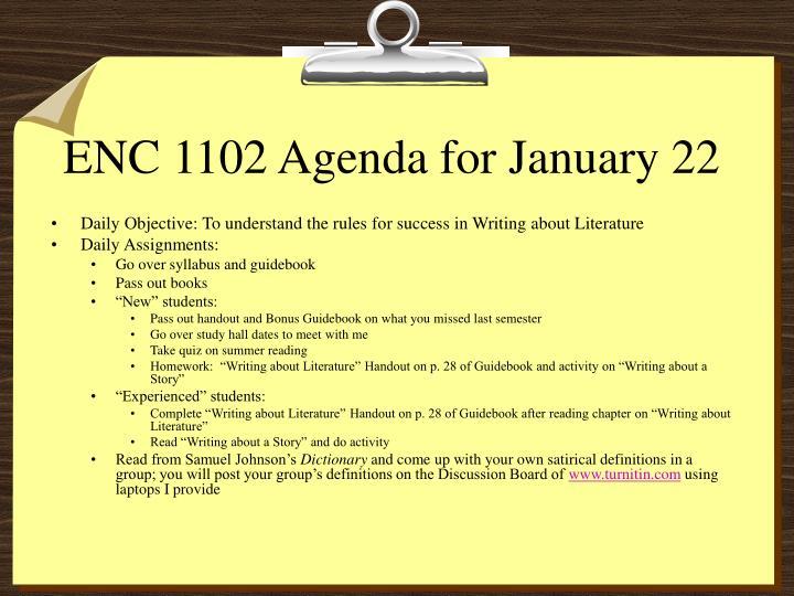 enc 1102 agenda for january 22