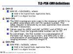 tls psk emv definitions