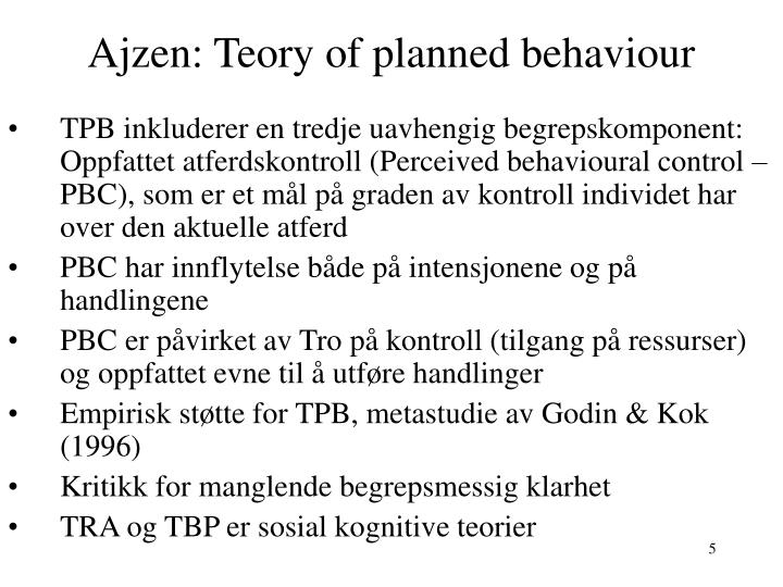 Ajzen: Teory of planned behaviour