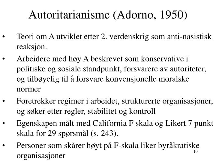 Autoritarianisme (Adorno, 1950)