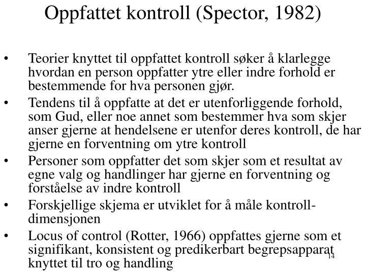 Oppfattet kontroll (Spector, 1982)
