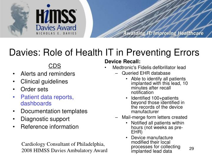 himss davies award winners The epic community is a world-wide group of himss enterprise davies winners since 2009 the himss davies award of excellence recognizes.