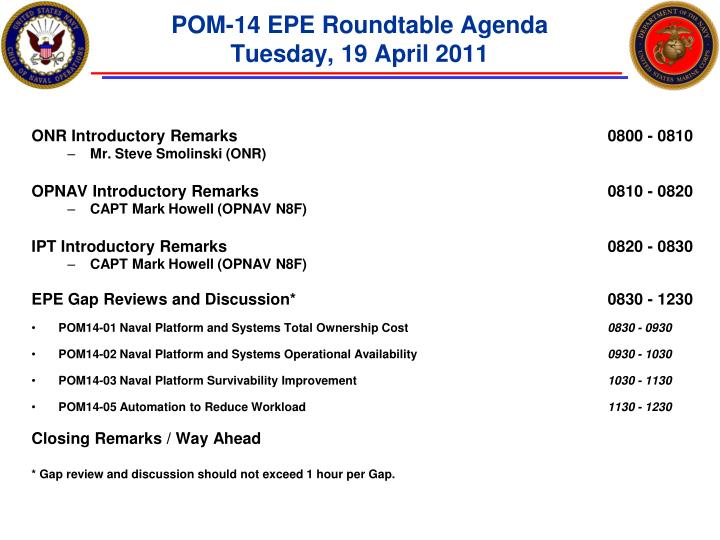 pom 14 epe roundtable agenda tuesday 19 april 2011 n.
