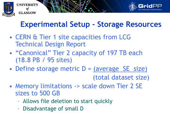 Experimental Setup - Storage Resources