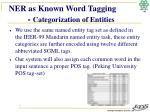 ner as known word tagging categorization of entities