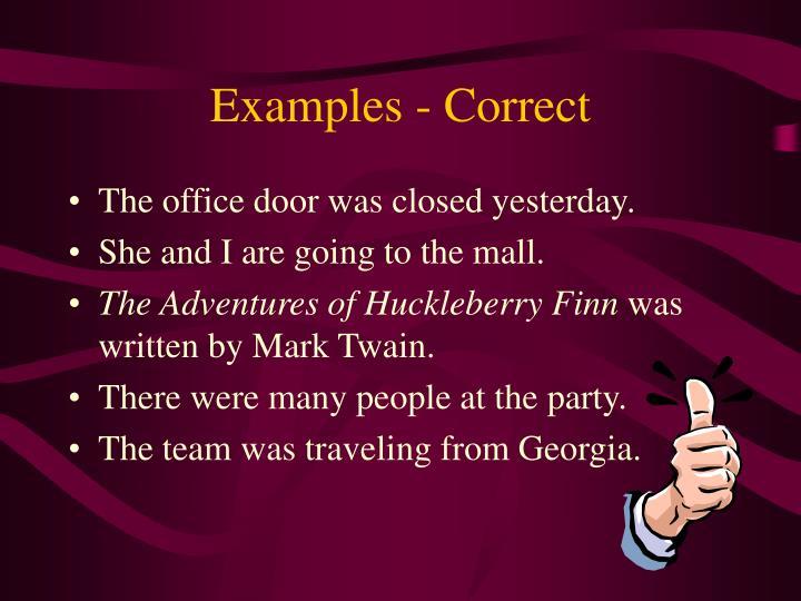 Examples - Correct