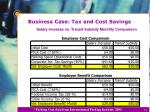 business case tax and cost savings