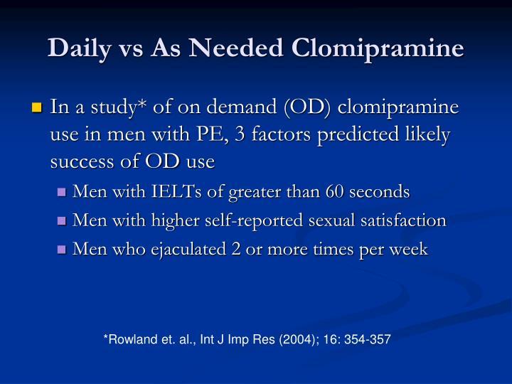 Daily vs As Needed Clomipramine