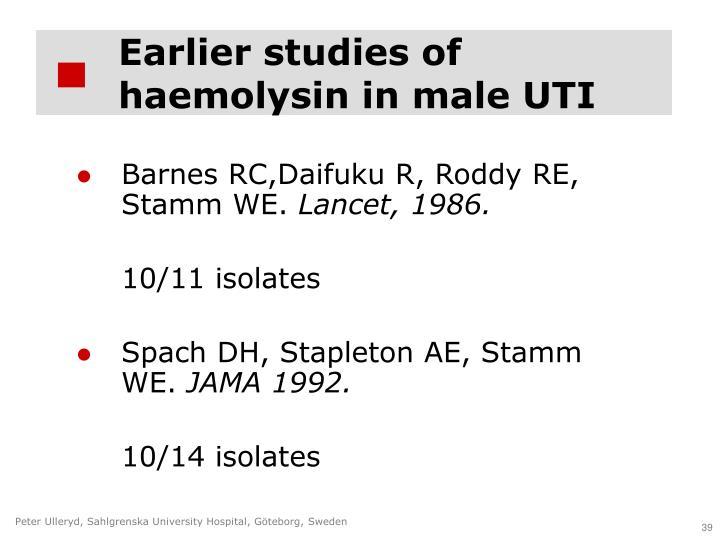 Earlier studies of haemolysin in male UTI