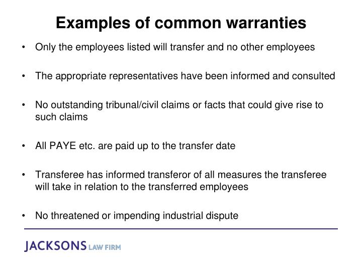 Examples of common warranties