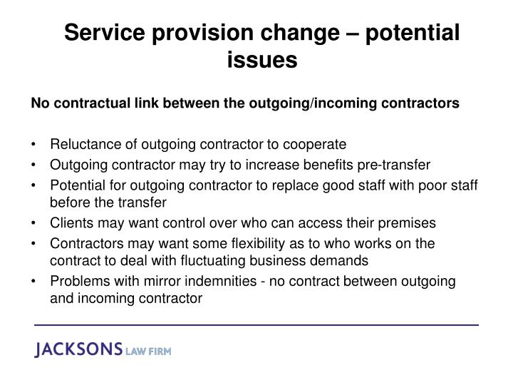 Service provision change – potential issues