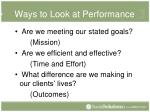 ways to look at performance
