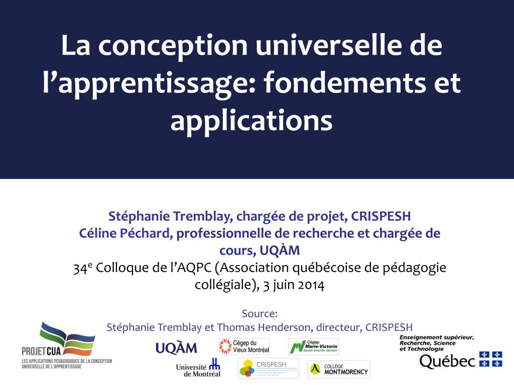 Ppt La Conception Universelle De Lapprentissage Fondements Et