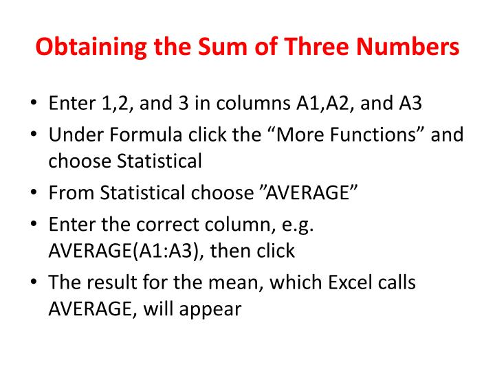Obtaining the sum of three numbers