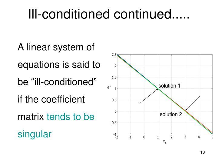 Ill-conditioned continued.....
