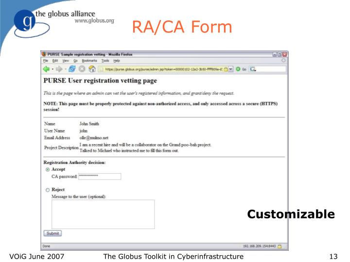RA/CA Form
